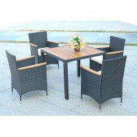 IPRO Poly Rattan Wicker Outdoor Set/ Patio Garden Furniture- Dining set Acacia Table Top with 4 Chair
