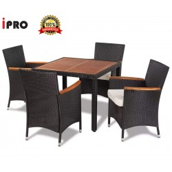 IPRO Patio Garden Furniture- Dining set Acacia Table Top with 4 Chair