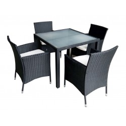 Poly Rattan Dining set Tempered Glass Table Top with 4 Chair