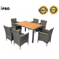 IPRO Patio Garden Furniture- Dining set Acacia Table Top with 6 Chair