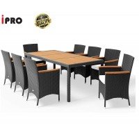 IPRO Patio Garden Furniture- Dining set Acacia Table Top with 8 Chair