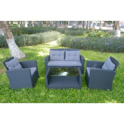 IPRO Poly Rattan Wicker Outdoor Set, Sofa Set 4-2