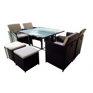 IPRO Poly Rattan Wicker Outdoor Set/ Patio Garden Furniture  - Cube set 4+4