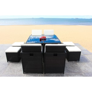 IPRO Poly Rattan Wicker Outdoor Set/ Patio Garden Furniture  - Cube set 4+4
