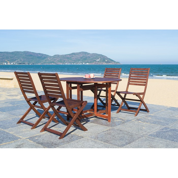 solid wood outdoor set patio garden furniture oval drop leaf table 130cm with 4 folding chair. Black Bedroom Furniture Sets. Home Design Ideas