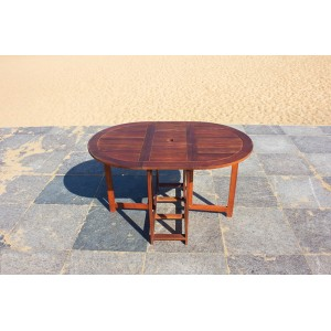 Solid Wood Outdoor Set/ Patio Garden Furniture-Oval Drop-leaf Table 130cm with 4 Folding Chair