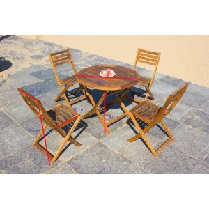 Solid Wood Outdoor Set/ Patio Garden Furniture-Round Fold-able Table 90 cm With 4 Folding Chair