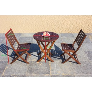 Solid Wood Outdoor Set, Round Table 70 cm  With 2 Fold-able Chair