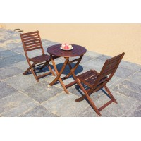 Solid Wood Outdoor Set/ Patio Garden Furniture-Round Table 70 cm  With 2 Fold-able Chair