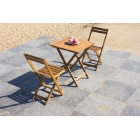 IPRO Wooden Outdoor Set, Square Foldable Table 60cm with 2 Folding Chairs
