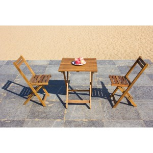 IPRO Wooden Outdoor Set/ Patio Garden Furniture - Square Foldable Table 60cm with 2 Folding Chairs