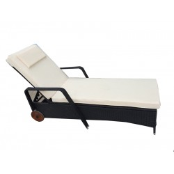 IPRO Patio Garden furniture - Moveable Single Sun lounger (Black)