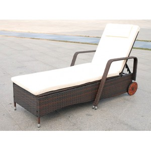 IPRO Poly Rattan wicker outdoor set/ Patio Garden furniture - Moveable Single Sunlounger (Black)