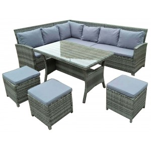 IPRO poly rattan wicker outdoor set/ Patio Garden furniture - L Sofa Set (GREY)
