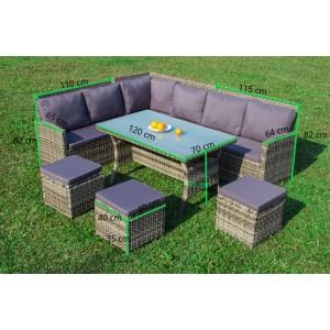 IPRO Patio Garden furniture - L Sofa Set (GREY)