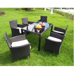 Poly Rattan Dining set Glass Table Top with 6 Chair