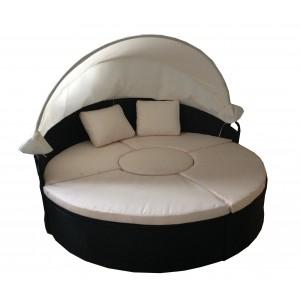 IPRO Poly Rattan wicker outdoor set/ Patio Garden furniture  - Round sunbed 180cm (Brown)