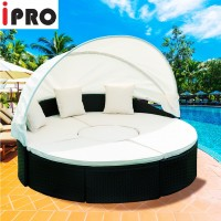 IPRO Poly Rattan wicker outdoor set, Round sunbed 180cm