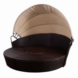 IPRO Poly Rattan wicker outdoor set/ Patio Garden furniture  - Round sunbed 180cm (Brown)