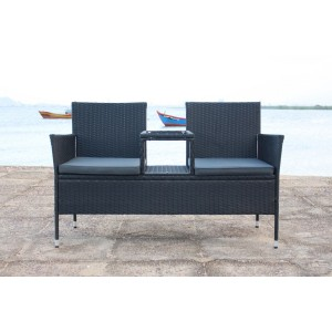 IPRO Poly Rattan wicker outdoor set/ Patio Garden furniture  - Love Seat (Black)