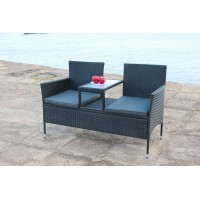 IPRO Poly Rattan wicker outdoor set, Love Seat (Black)