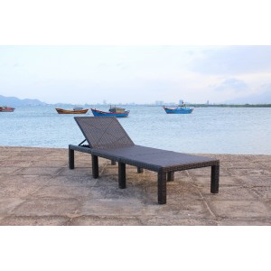 IPRO Poly Rattan wicker outdoor set/ Patio Garden furniture  -  Sunlounger (Black)