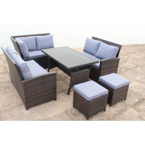 IPRO Poly Rattan wicker outdoor set/ Patio Garden furniture- L Sofa  set (Brown)