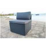 IPRO Poly Rattan wicker outdoor set/ Patio Garden furniture  -  Single Sofa Seater (BLACK)