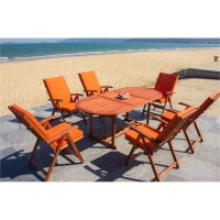 IPRO Solid Wood Outdoor Set/ Patio Garden Furniture- Vanamo Set with  Orange cushion