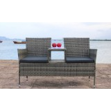 IPRO Poly Rattan wicker outdoor set/ Patio Garden furniture  -  Love Seat (Grey)