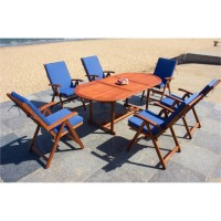 IPRO Solid Wood Outdoor Set/ Patio Garden Furniture-Vanamo Set with Blue Cushions