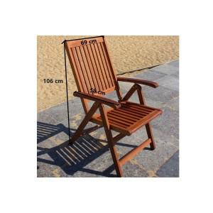 IPRO Wooden Outdoor Chair / Patio Garden Relax Chair / Outdoor Dining Reclining Chair - Reclining 5 position chair  (2 pcs)