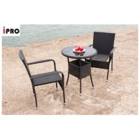 IPRO Poly Rattan Wicker Outdoor Furniture Set / Patio Garden Furniture Sofa Set / Balcony Table & Chair set / Cafe seating set - Bistro Set 2S - Round