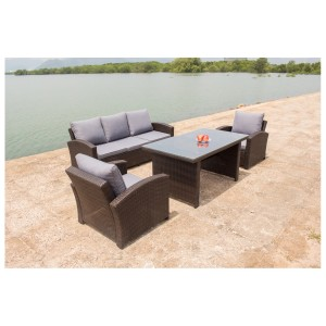 IPRO Poly Rattan Wicker Outdoor Furniture Set / Patio Garden Furniture Sofa Set / Dining Sofa Set &  Cafe seating set - Dining Sofa Set 1