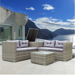 IPRO Rattan Sofa Set 4 Seater with Cushion Box