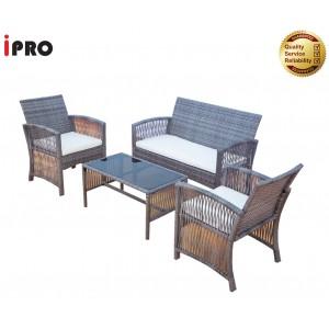 IPRO Outdoor Furniture Rattan Sofa Set / 4 PiecePatio Garden Sofa 4 seater with Cushion / Balcony Coffee Table & Chair set / Cafe seating set  meja kopi - Sofa Set 1-3 Grey