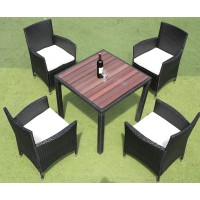 IPRO Rattan  Polywood Dining Table Chair Set