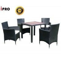 IPRO Rattan  Polywood Dining Table Chair Set / Patio Outdoor Furniture Coffee Table with Dining Chair / Study Table set / Cafe Table set 4 seater / Set Meja Makan Kerusi Taman - Bistro Set 4S  Polywood Table Set