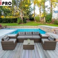 IPRO Rattan Sofa Set 5 seater / Patio Outdoor Furniture Sofa  Set /  Cafe Sofa Bed Sofa Relax Taman - Sofa Set 5S